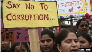 Indian masses protesting against corruption